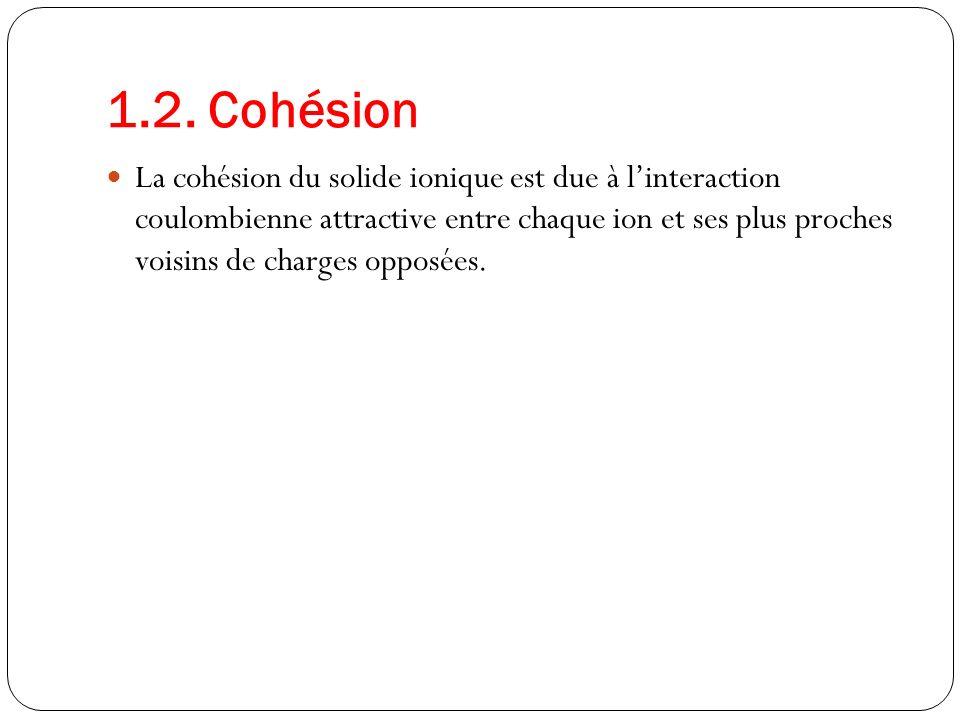 1.2. Cohésion La cohésion du solide ionique est due à linteraction coulombienne attractive entre chaque ion et ses plus proches voisins de charges opp