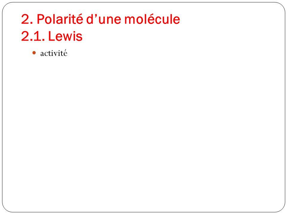 2. Polarité dune molécule 2.1. Lewis activité