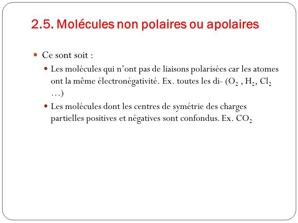 2.5. Molécules non polaires ou apolaires Ce sont soit : Les molécules qui nont pas de liaisons polarisées car les atomes ont la même électronégativité