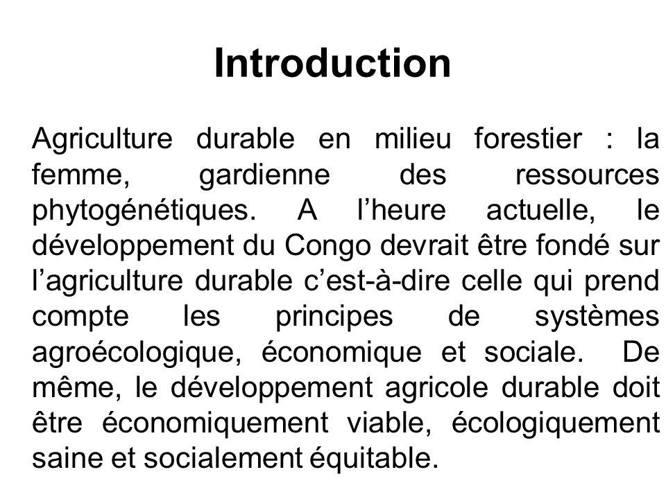 Agriculture durable : les principes de base (trois préoccupations majeures) 1.Lagriculture agroécologique dans le contexte des zones forestières congolaises - Diversité des cultures - Organisation de lespace : Une agriculture de qualité dans un milieu de qualité .