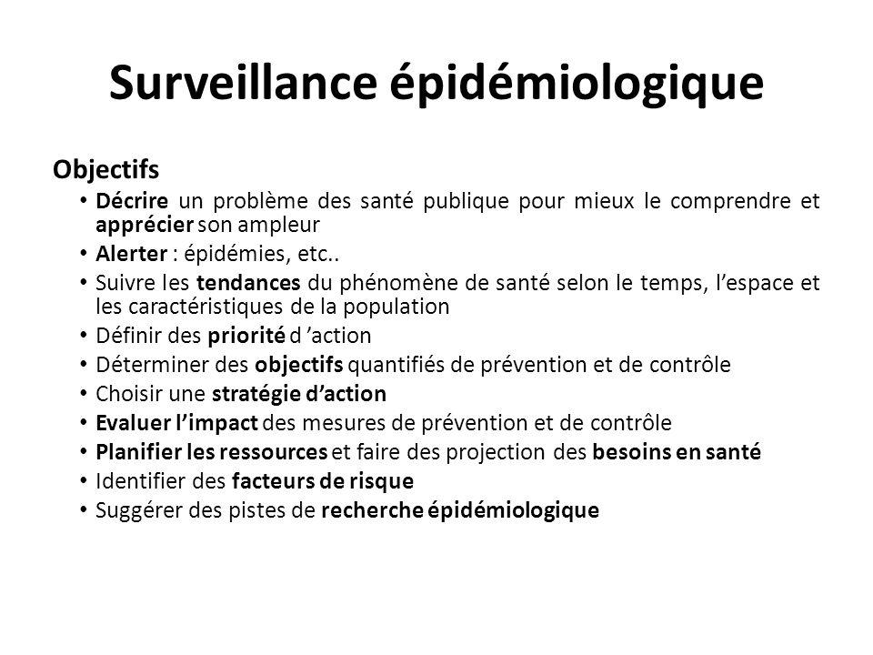 Surveillance épidémiologique Objectifs Décrire un problème des santé publique pour mieux le comprendre et apprécier son ampleur Alerter : épidémies, etc..