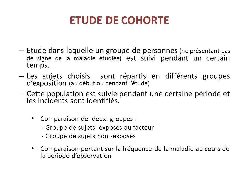 ETUDE DE COHORTE – Etude dans laquelle un groupe de personnes (ne présentant pas de signe de la maladie étudiée) est suivi pendant un certain temps.