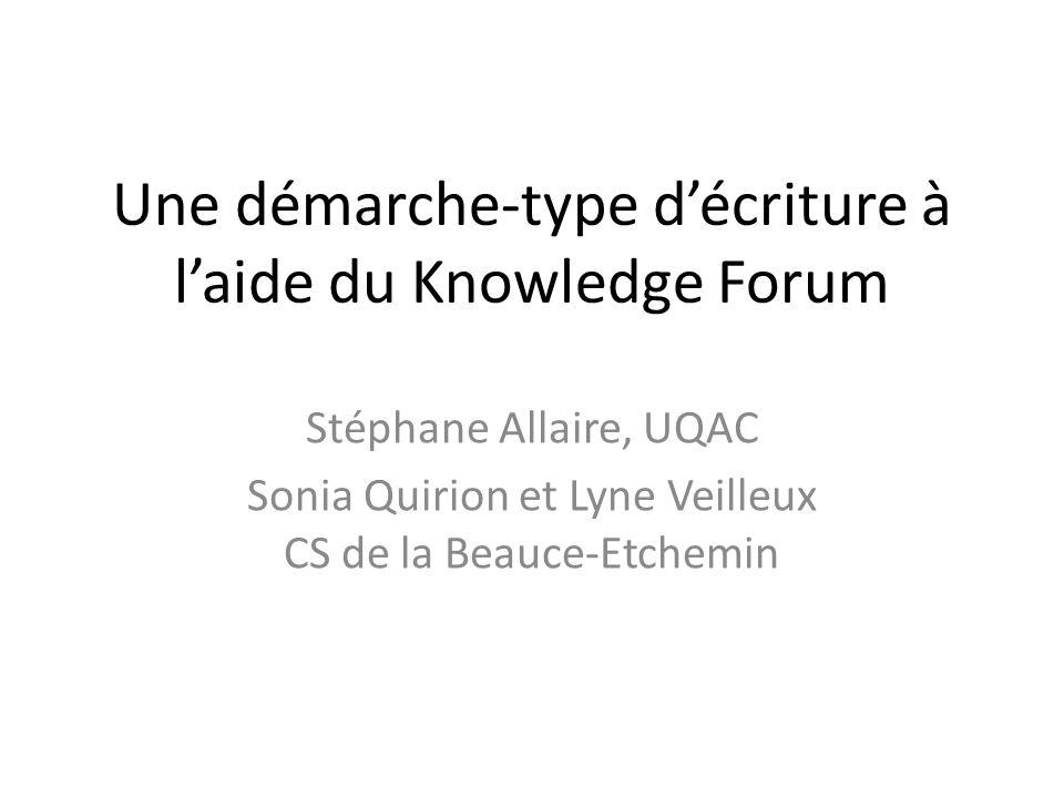Une démarche-type décriture à laide du Knowledge Forum Stéphane Allaire, UQAC Sonia Quirion et Lyne Veilleux CS de la Beauce-Etchemin