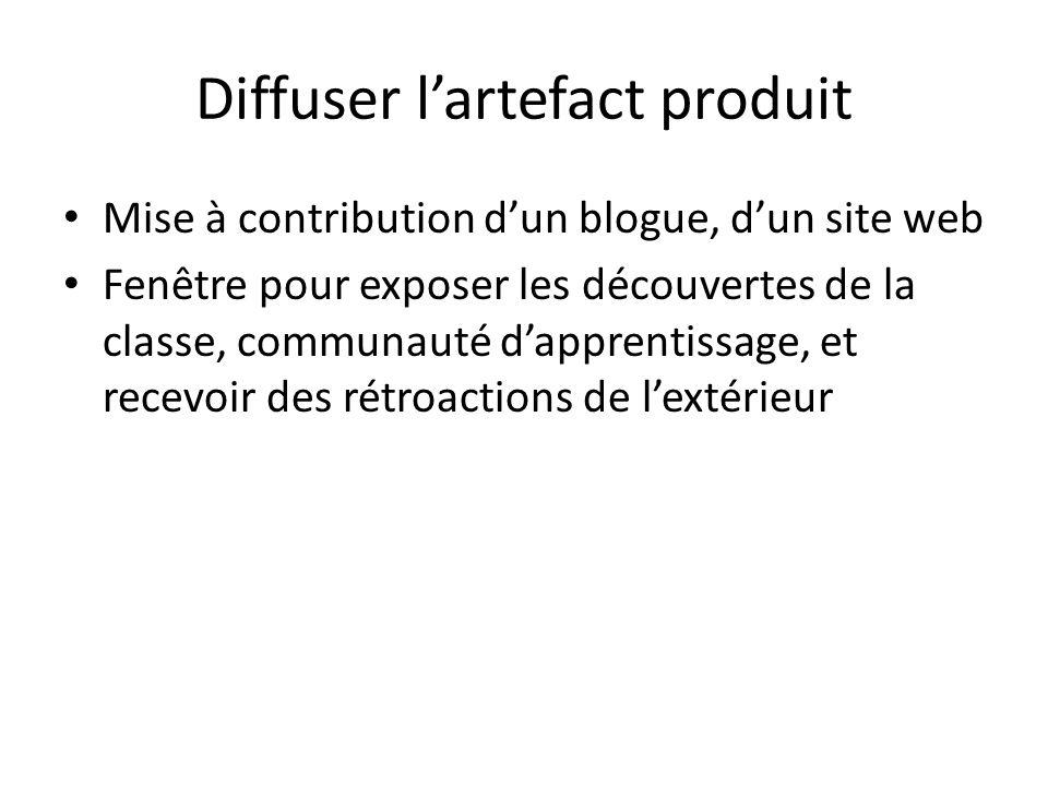Diffuser lartefact produit Mise à contribution dun blogue, dun site web Fenêtre pour exposer les découvertes de la classe, communauté dapprentissage, et recevoir des rétroactions de lextérieur Les idées au Québec: une énergie renouvelable
