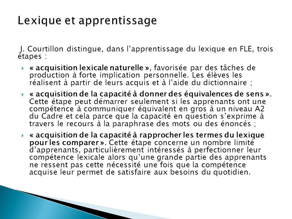 J. Courtillon distingue, dans lapprentissage du lexique en FLE, trois étapes : « acquisition lexicale naturelle », favorisée par des tâches de product