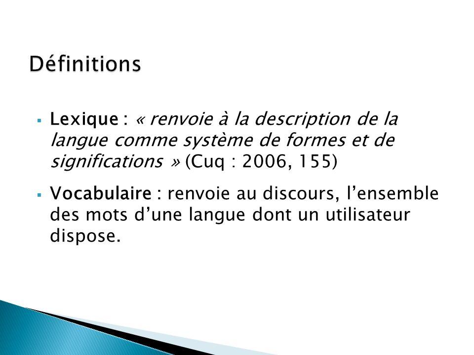 Lexique : « renvoie à la description de la langue comme système de formes et de significations » (Cuq : 2006, 155) Vocabulaire : renvoie au discours,