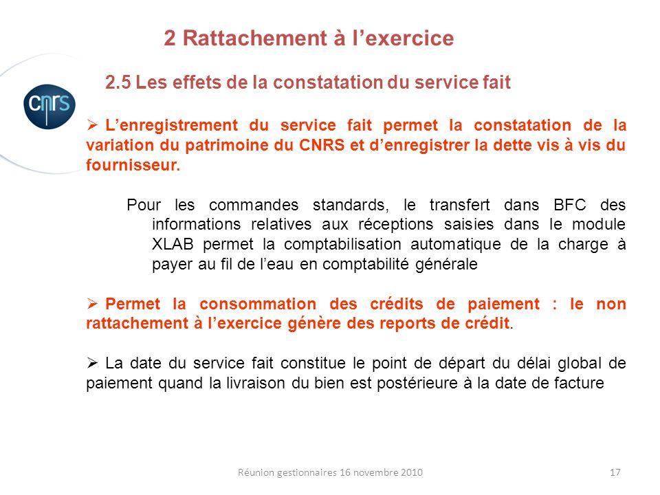 17Réunion gestionnaires 16 novembre 2010 2.5 Les effets de la constatation du service fait Lenregistrement du service fait permet la constatation de l