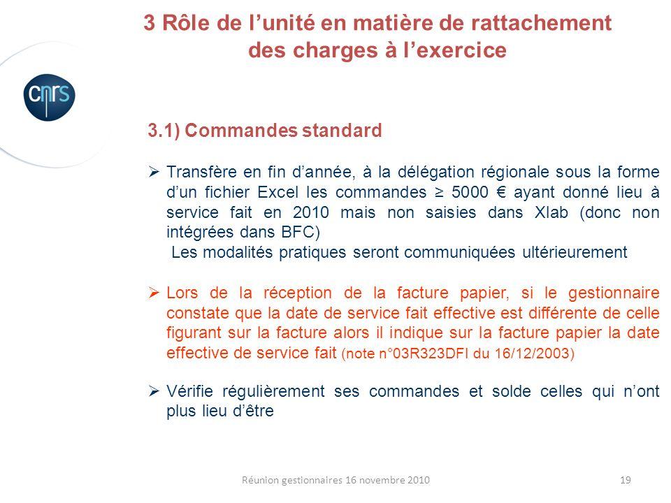 19Réunion gestionnaires 16 novembre 2010 3.1) Commandes standard Transfère en fin dannée, à la délégation régionale sous la forme dun fichier Excel le