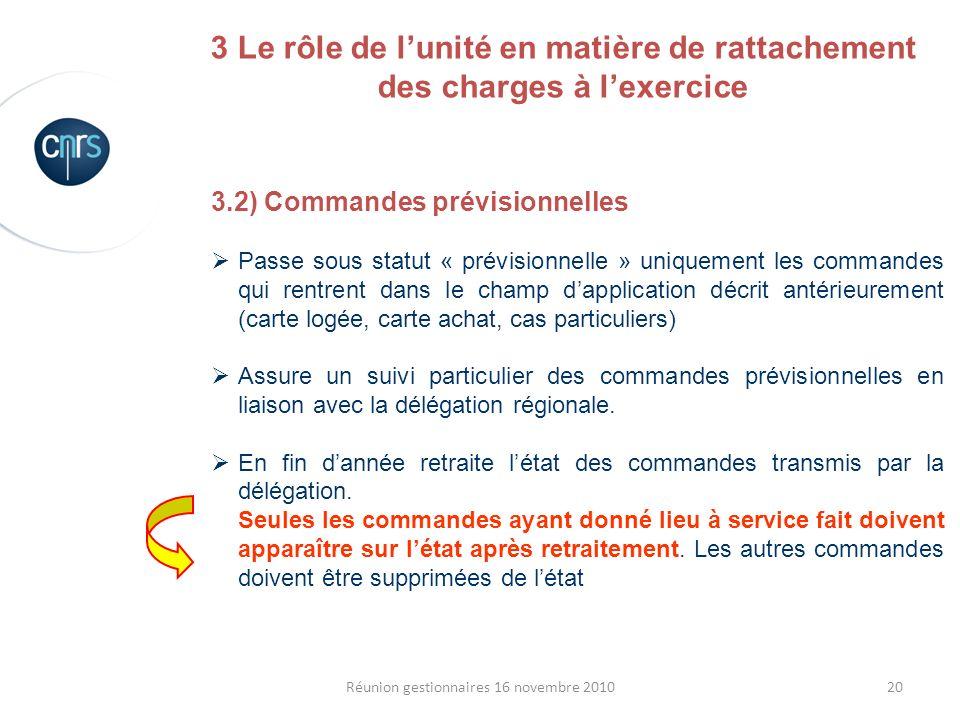 20Réunion gestionnaires 16 novembre 2010 3.2) Commandes prévisionnelles Passe sous statut « prévisionnelle » uniquement les commandes qui rentrent dan