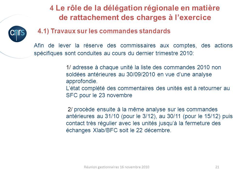 21Réunion gestionnaires 16 novembre 2010 4.1) Travaux sur les commandes standards Afin de lever la réserve des commissaires aux comptes, des actions s