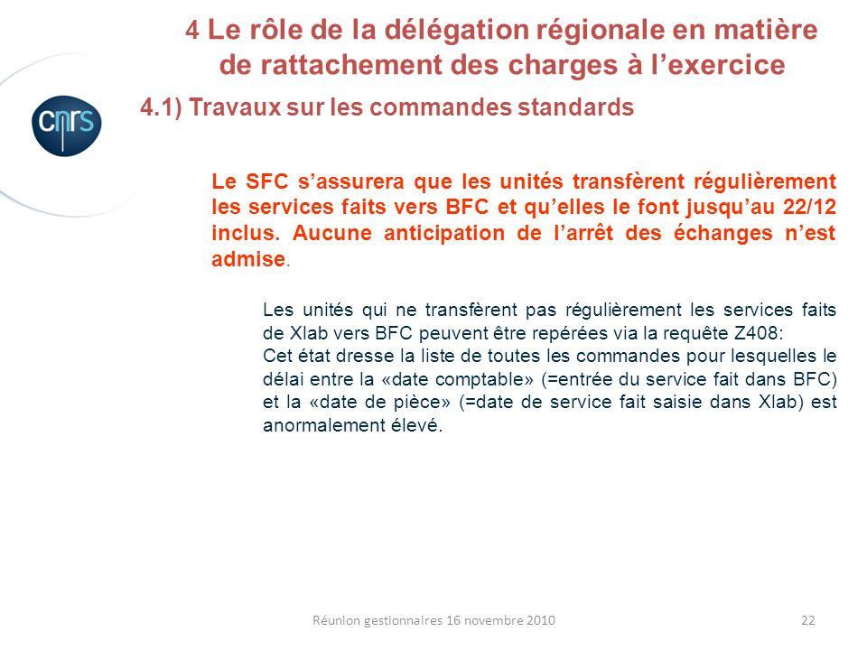 22Réunion gestionnaires 16 novembre 2010 4.1) Travaux sur les commandes standards Le SFC sassurera que les unités transfèrent régulièrement les servic