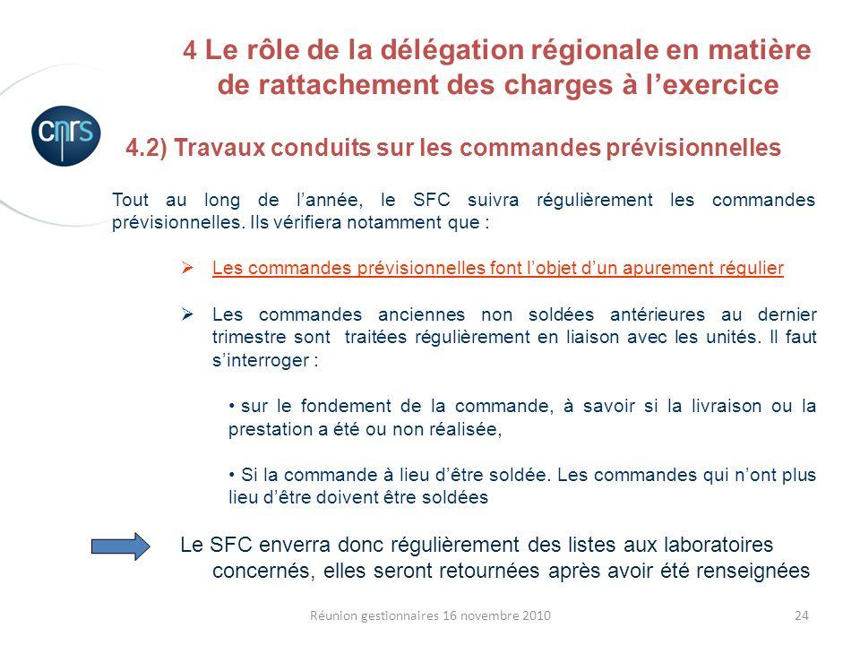 24Réunion gestionnaires 16 novembre 2010 4.2) Travaux conduits sur les commandes prévisionnelles Tout au long de lannée, le SFC suivra régulièrement l