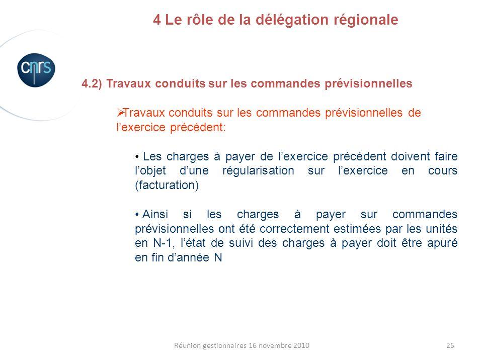 25Réunion gestionnaires 16 novembre 2010 4.2) Travaux conduits sur les commandes prévisionnelles Travaux conduits sur les commandes prévisionnelles de