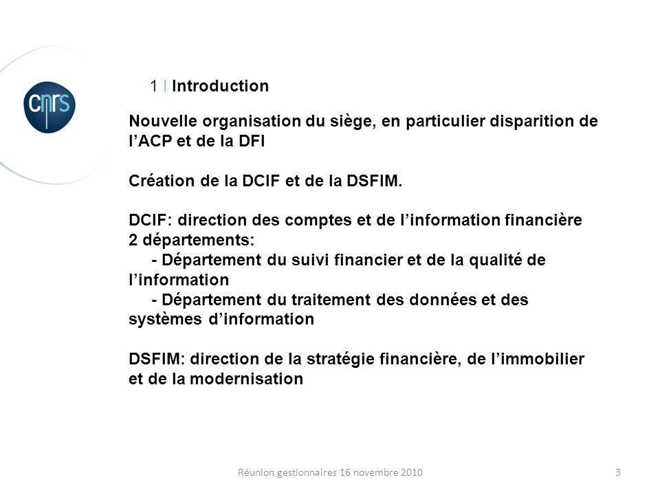 3Réunion gestionnaires 16 novembre 2010 1 I Introduction Nouvelle organisation du siège, en particulier disparition de lACP et de la DFI Création de l