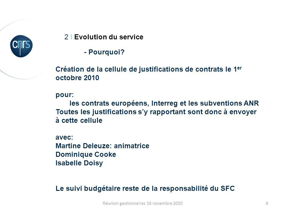 4Réunion gestionnaires 16 novembre 2010 2 I Evolution du service - Pourquoi? Création de la cellule de justifications de contrats le 1 er octobre 2010