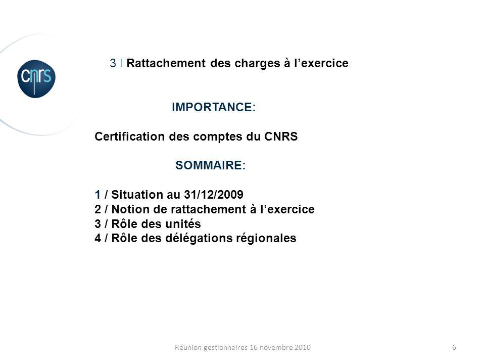 6Réunion gestionnaires 16 novembre 2010 3 I Rattachement des charges à lexercice IMPORTANCE: Certification des comptes du CNRS SOMMAIRE: 1 / Situation