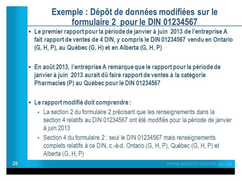Exemple : Dépôt de données modifiées sur le formulaire 2 pour le DIN 01234567 Le premier rapport pour la période de janvier à juin 2013 de lentreprise A fait rapport de ventes de 4 DIN, y compris le DIN 01234567 vendu en Ontario (G, H, P), au Québec (G, H) et en Alberta (G, H, P) En août 2013, lentreprise A remarque que le rapport pour la période de janvier à juin 2013 aurait dû faire rapport de ventes à la catégorie Pharmacies (P) au Québec pour le DIN 01234567 Le rapport modifié doit comprendre : La section 2 du formulaire 2 précisant que les renseignements dans la section 4 relatifs au DIN 01234567 ont été modifiés pour la période de janvier à juin 2013 Section 4 du formulaire 2 : seul le DIN 01234567 mais renseignements complets relatifs à ce DIN, c.-à-d.
