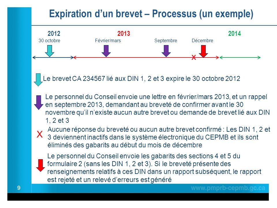 Exemple : Dépôt de modifications à la section 2 du formulaire 2 pour le DIN 01234567 30