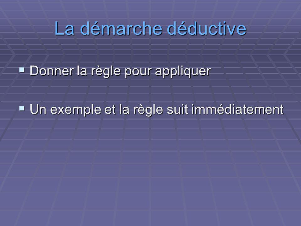 La démarche déductive Donner la règle pour appliquer Donner la règle pour appliquer Un exemple et la règle suit immédiatement Un exemple et la règle s