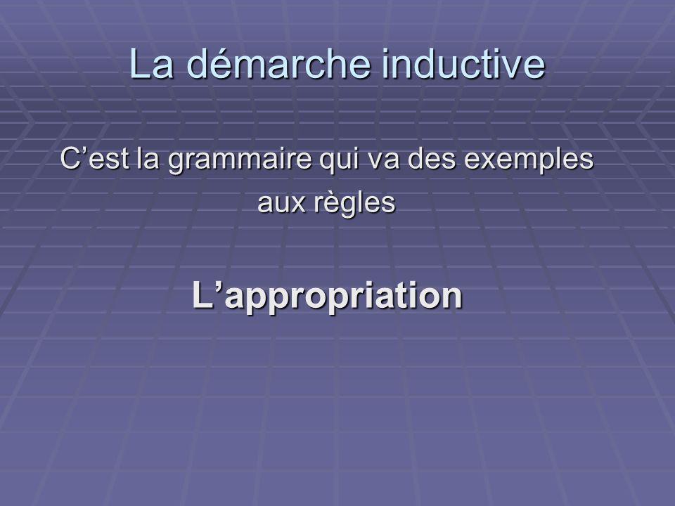 La démarche inductive Cest la grammaire qui va des exemples aux règles Lappropriation
