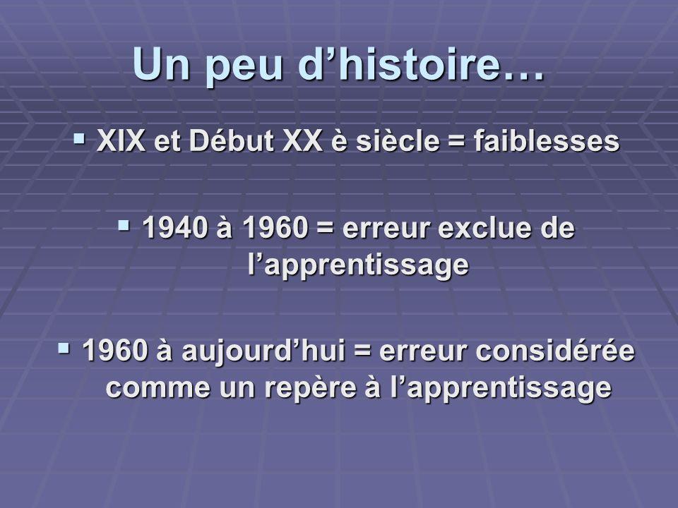 Un peu dhistoire… XIX et Début XX è siècle = faiblesses XIX et Début XX è siècle = faiblesses 1940 à 1960 = erreur exclue de lapprentissage 1940 à 196