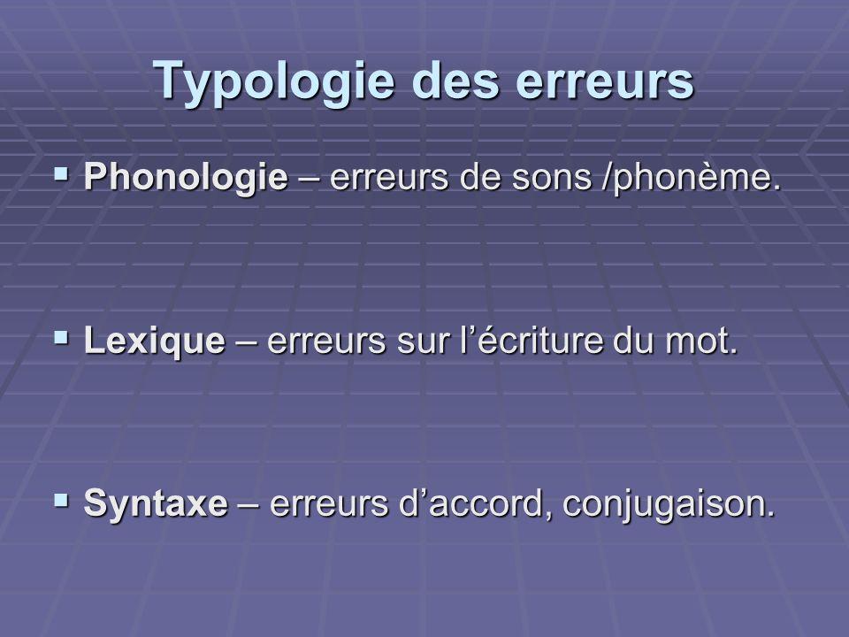 Typologie des erreurs Phonologie – erreurs de sons /phonème. Phonologie – erreurs de sons /phonème. Lexique – erreurs sur lécriture du mot. Lexique –