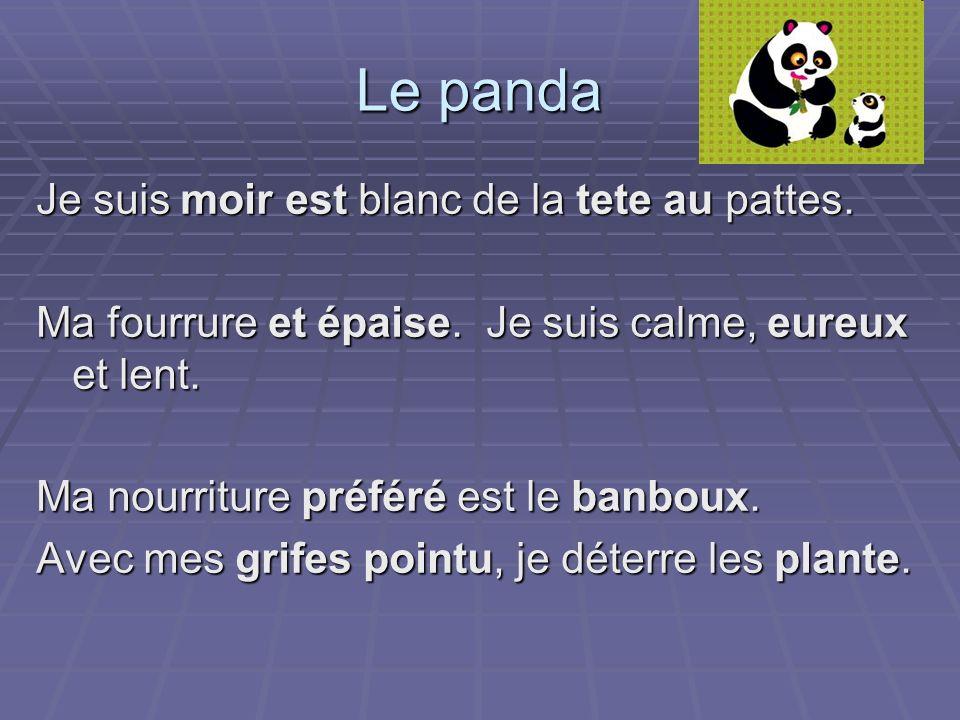 Le panda Je suis moir est blanc de la tete au pattes. Ma fourrure et épaise. Je suis calme, eureux et lent. Ma nourriture préféré est le banboux. Avec