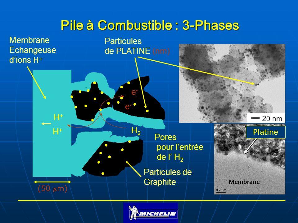 H2H2 Membrane Echangeuse dions H + Particules de Graphite Particules de PLATINE (nm) Pores pour lentrée de l H 2 H+H+ H+H+ e-e- e-e- Pile à Combustibl