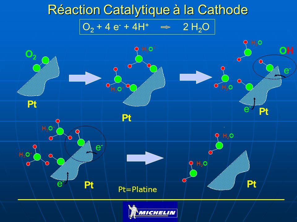 O 2 + 4 e - + 4H + 2 H 2 O Réaction Catalytique à la Cathode O2O2 Pt Pt=Platine Pt H3O+H3O+ H3O+H3O+ OHOH e-e- e-e- H2OH2O H2OH2O H2OH2O H2OH2O e-e- e
