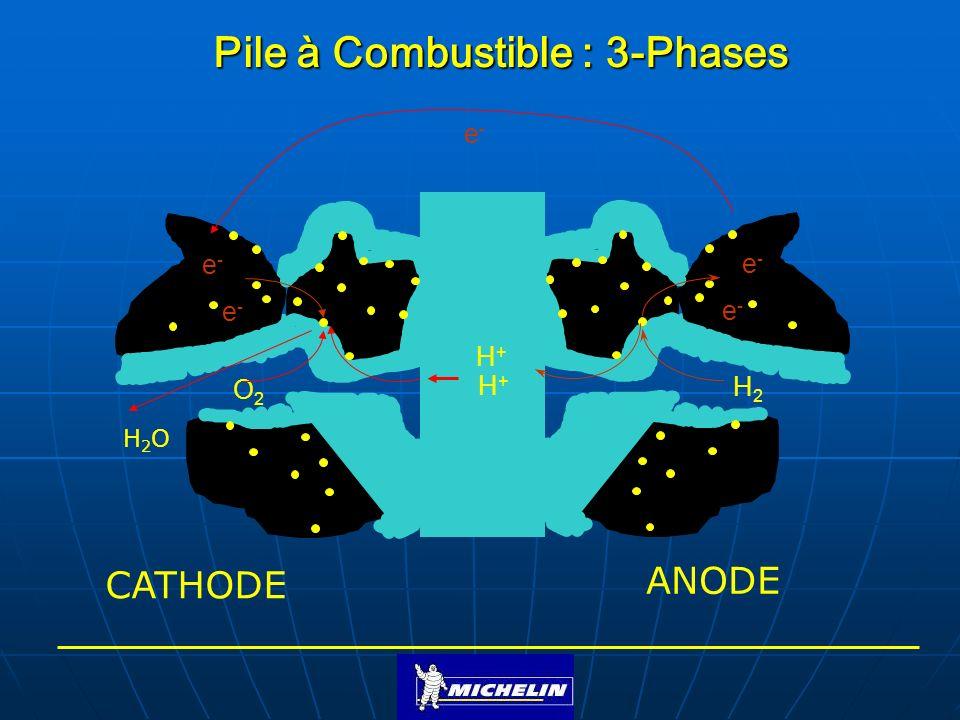 Pile à Combustible : 3-Phases O2O2 e-e- e-e- H2H2 H+H+ H+H+ e-e- e-e- H2OH2O e-e- CATHODE ANODE