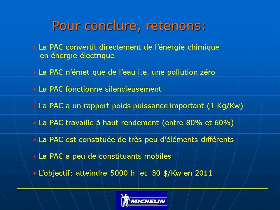 Pour conclure, retenons: La PAC convertit directement de lénergie chimique en énergie électrique La PAC német que de leau i.e. une pollution zéro La P