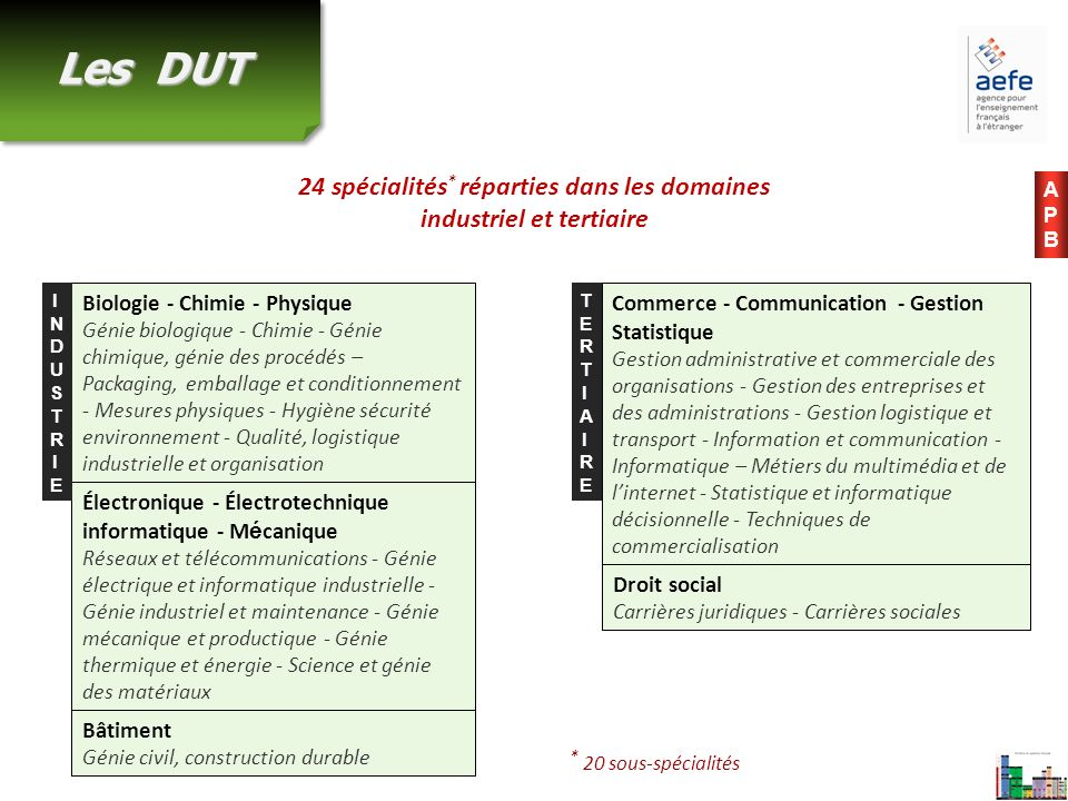 Les DUT 24 spécialités * réparties dans les domaines industriel et tertiaire Biologie - Chimie - Physique Génie biologique - Chimie - Génie chimique,