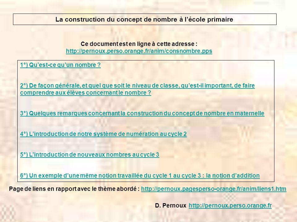 La construction du concept de nombre à lécole primaire Ce document est en ligne à cette adresse : http://pernoux.perso.orange.fr/anim/consnombre.pps h