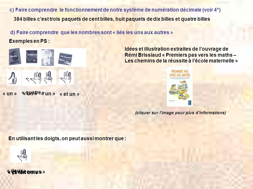 d) Faire comprendre que les nombres sont « liés les uns aux autres » Exemples en PS : Idées et illustration extraites de louvrage de Rémi Brissiaud «
