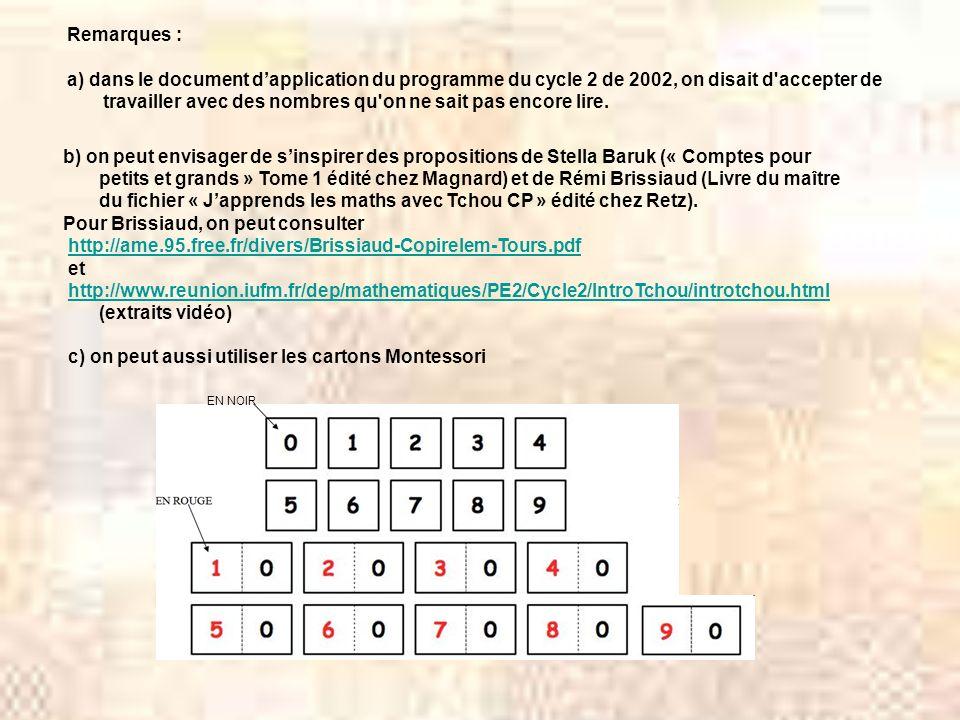 b) on peut envisager de sinspirer des propositions de Stella Baruk (« Comptes pour petits et grands » Tome 1 édité chez Magnard) et de Rémi Brissiaud