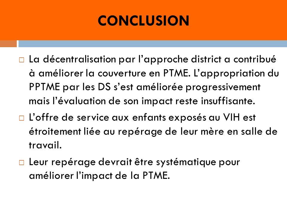 CONCLUSION La décentralisation par lapproche district a contribué à améliorer la couverture en PTME.