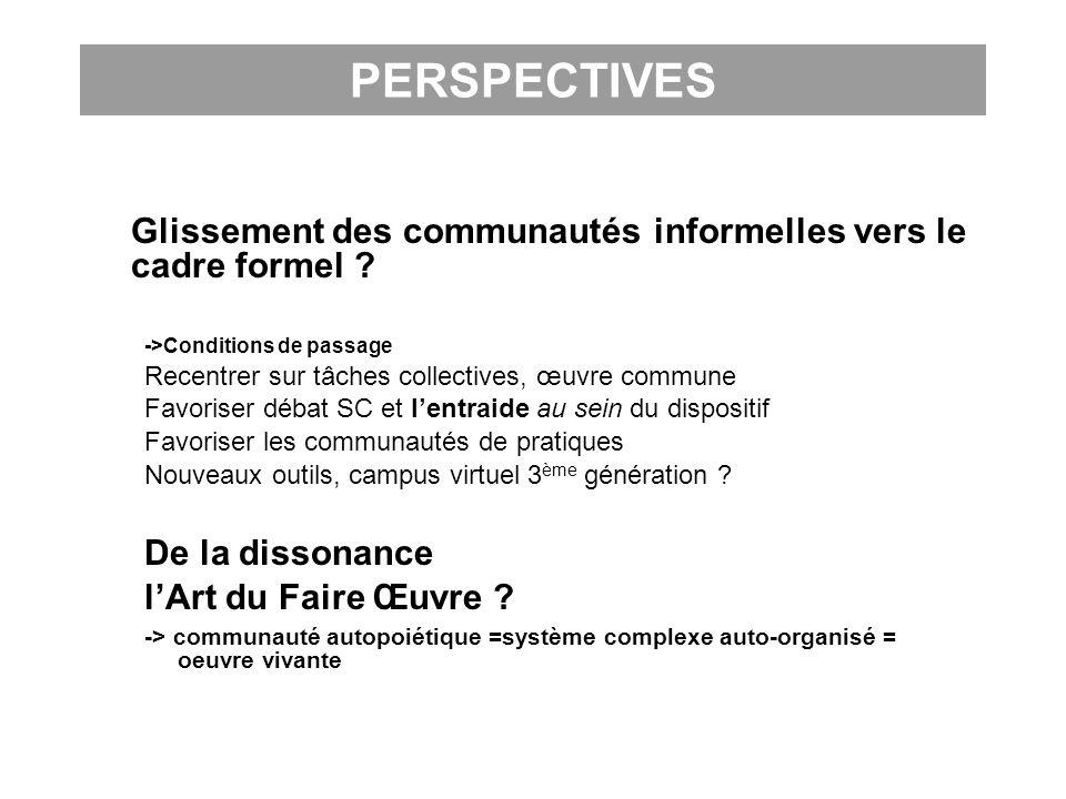 PERSPECTIVES Glissement des communautés informelles vers le cadre formel ? ->Conditions de passage Recentrer sur tâches collectives, œuvre commune Fav