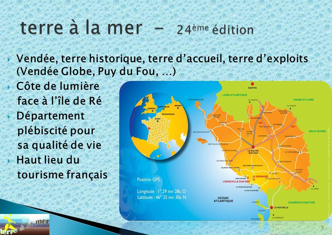 3 Vendée, terre historique, terre daccueil, terre dexploits (Vendée Globe, Puy du Fou, …) Côte de lumière face à lîle de Ré Département plébiscité pou