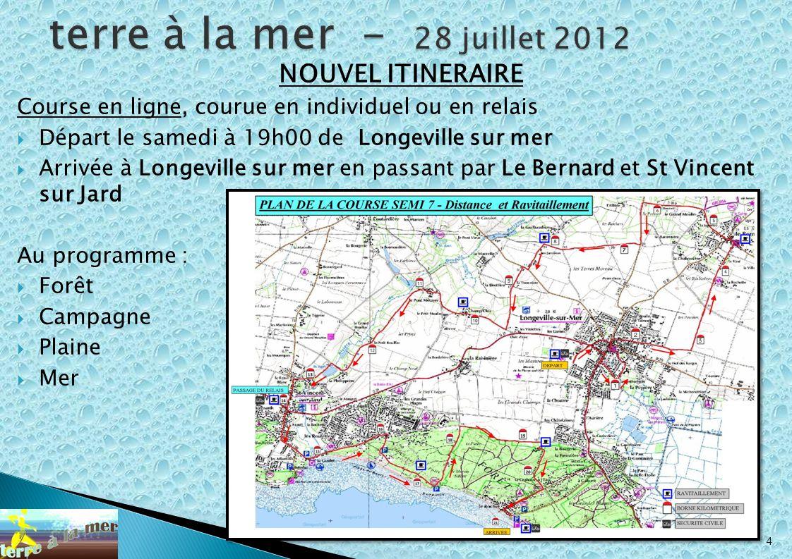 4 NOUVEL ITINERAIRE Course en ligne, courue en individuel ou en relais Départ le samedi à 19h00 de Longeville sur mer Arrivée à Longeville sur mer en