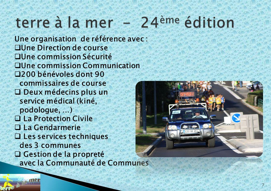 7 Une organisation de référence avec : Une Direction de course Une commission Sécurité Une commission Communication 200 bénévoles dont 90 commissaires