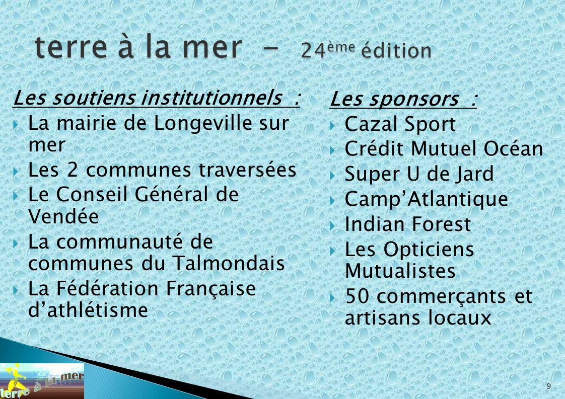 Les soutiens institutionnels : La mairie de Longeville sur mer Les 2 communes traversées Le Conseil Général de Vendée La communauté de communes du Tal