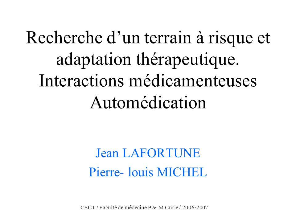 CSCT / Faculté de médecine P & M Curie / 2006-2007 Recherche dun terrain à risque et adaptation thérapeutique. Interactions médicamenteuses Automédica