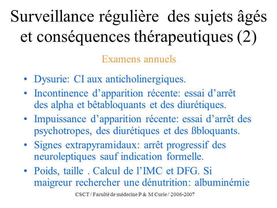 CSCT / Faculté de médecine P & M Curie / 2006-2007 Surveillance régulière des sujets âgés et conséquences thérapeutiques (2) Dysurie: CI aux anticholi