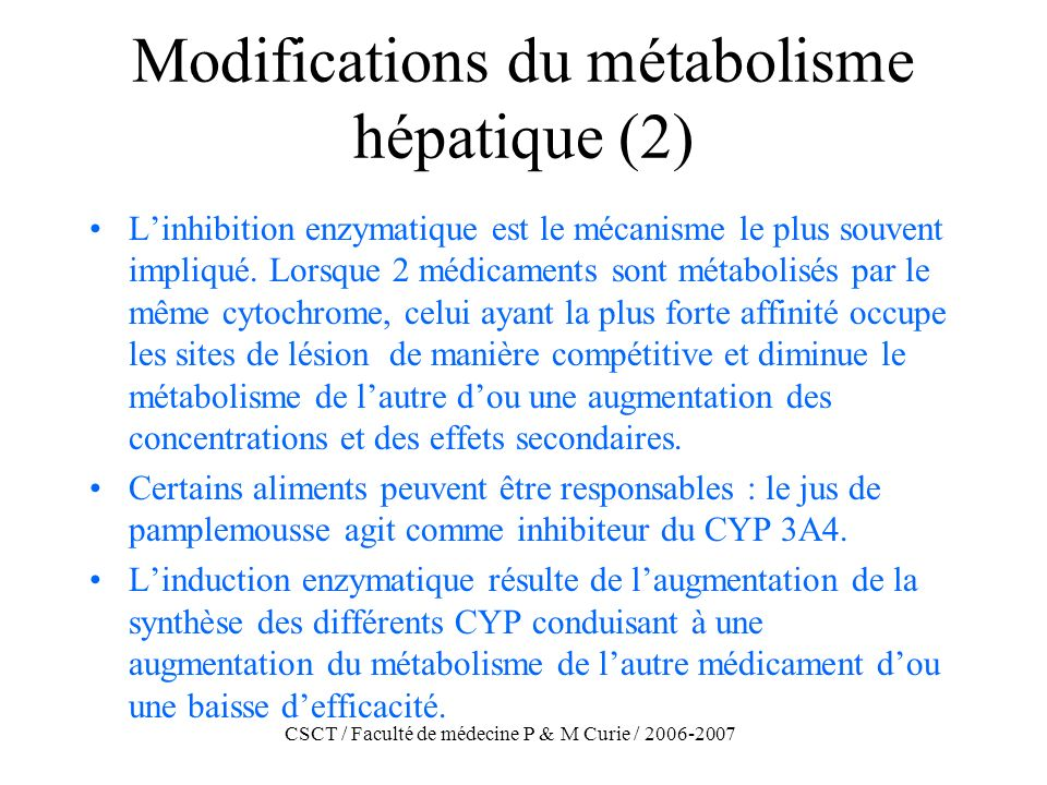 CSCT / Faculté de médecine P & M Curie / 2006-2007 Modifications du métabolisme hépatique (2) Linhibition enzymatique est le mécanisme le plus souvent