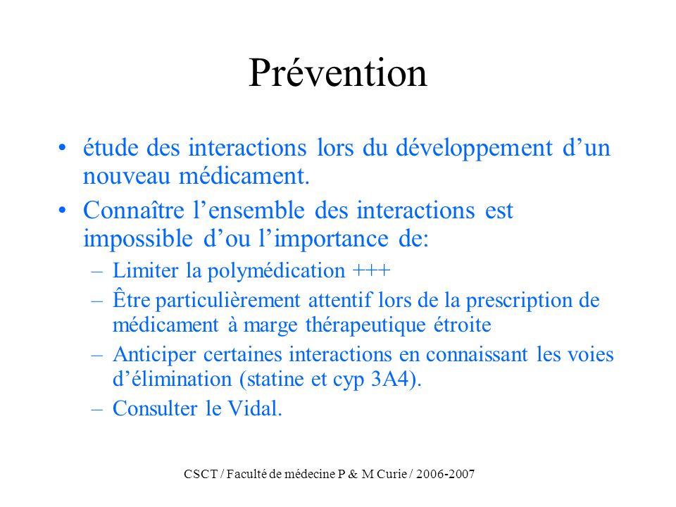 CSCT / Faculté de médecine P & M Curie / 2006-2007 Prévention étude des interactions lors du développement dun nouveau médicament. Connaître lensemble
