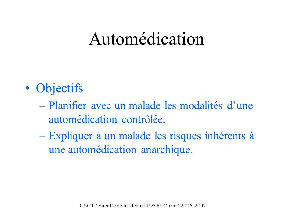 CSCT / Faculté de médecine P & M Curie / 2006-2007 Automédication Objectifs –Planifier avec un malade les modalités dune automédication contrôlée. –Ex