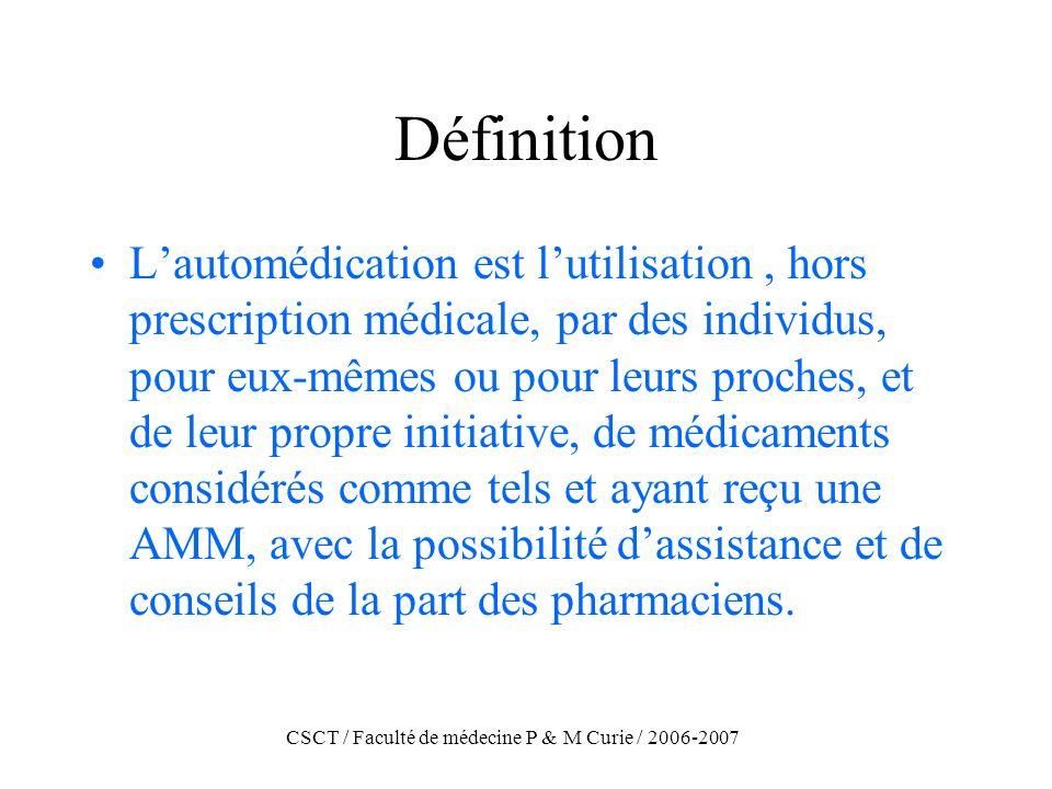 CSCT / Faculté de médecine P & M Curie / 2006-2007 Définition Lautomédication est lutilisation, hors prescription médicale, par des individus, pour eu