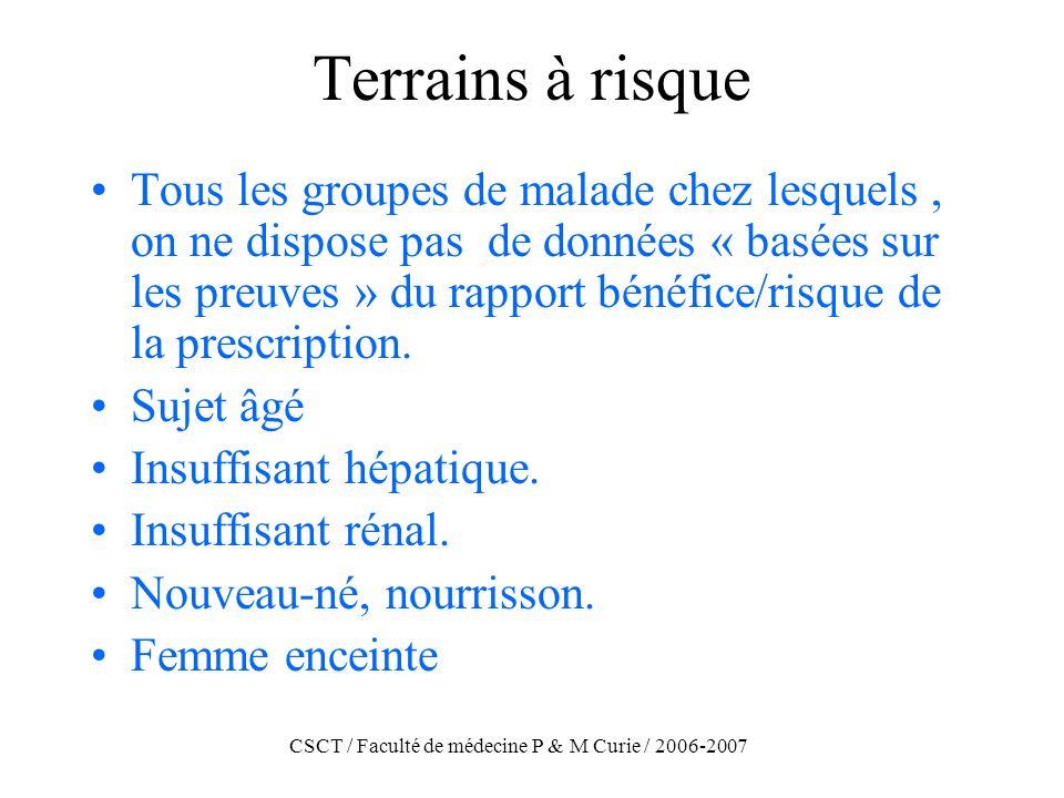 CSCT / Faculté de médecine P & M Curie / 2006-2007 Terrains à risque Tous les groupes de malade chez lesquels, on ne dispose pas de données « basées s