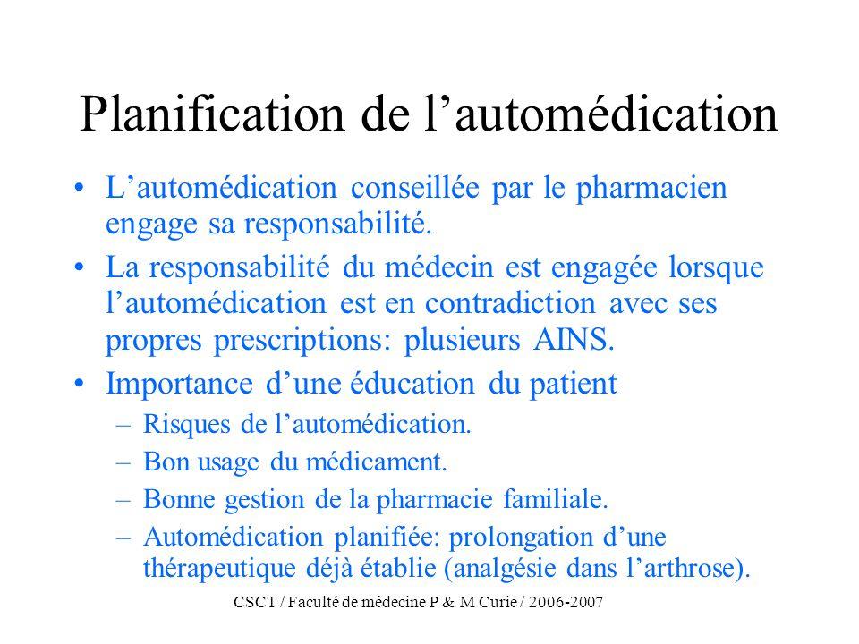 CSCT / Faculté de médecine P & M Curie / 2006-2007 Planification de lautomédication Lautomédication conseillée par le pharmacien engage sa responsabil