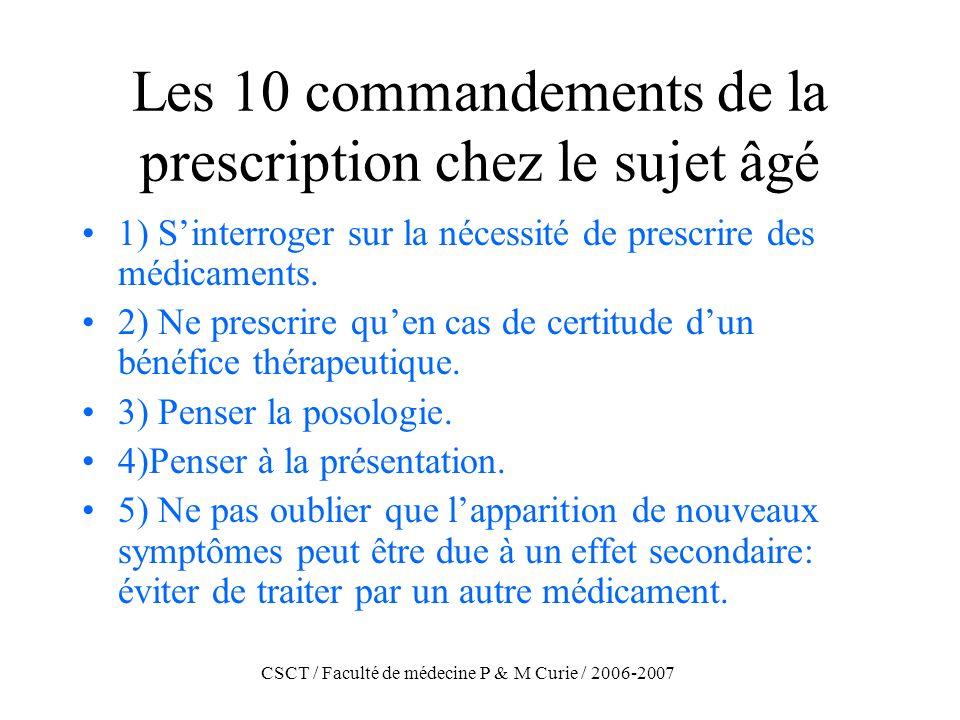 CSCT / Faculté de médecine P & M Curie / 2006-2007 Les 10 commandements de la prescription chez le sujet âgé (2) 6) établir une histoire précise des prises médicamenteuses.